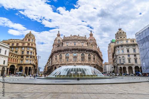 Plagát Piazza De Ferrari main square in Genoa