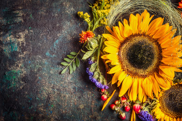 Sunflowers with berries and flowers. Floral autumn decoration on dark rustic vintage background, top view, border