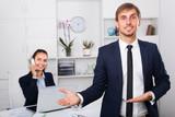 Smiling entrepreneur on working day