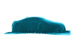 Car covered with velvet. The rotation of the laid cloth car on white background