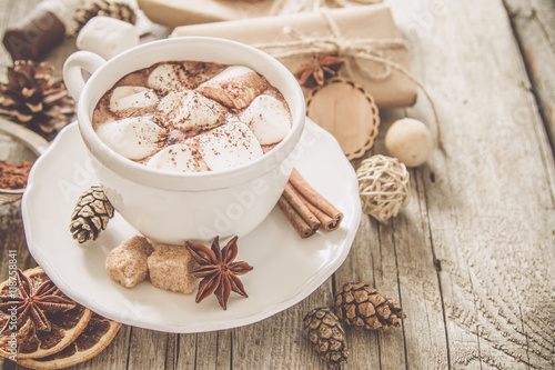 Poster Chocolade Hot chocolate with marshmallows