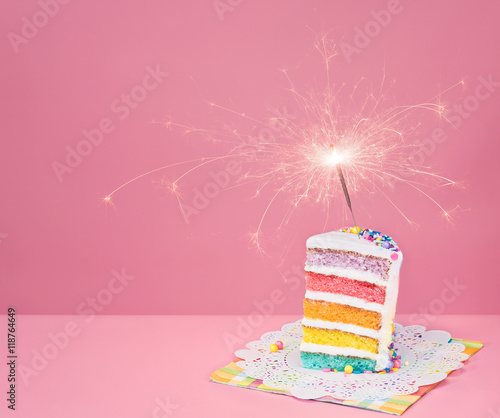 Colorful Birthday Cake with Sparkler - 118764649