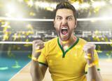 Brazilian volleyball player celebrating