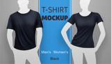Fototapety Black men and women t-shirt mockup. Vector realistic illustration