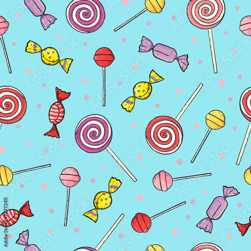 obraz PCV Colorful lollipop and candy seamless pattern. Vector sweets background.
