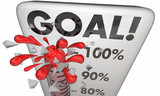 Goal Achieved 100 Percent Results Met Thermometer 3d Illustratio