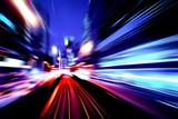moving traffic light trails at night  - 118778800