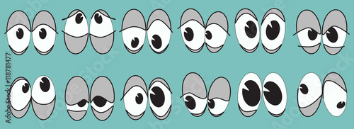 cartoon set of eyes with different characters