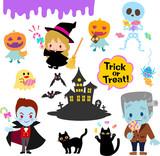 ハロウィンのキャラクターとお菓子のイラストセット