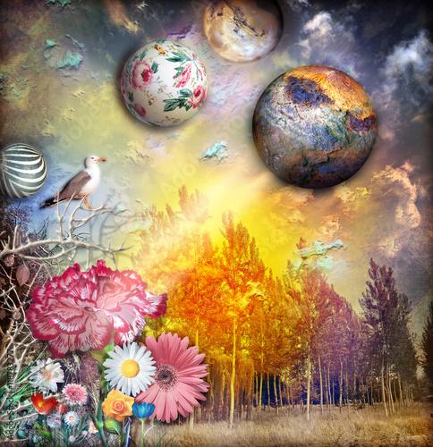 Obraz Fairytales landscape with magic sunset