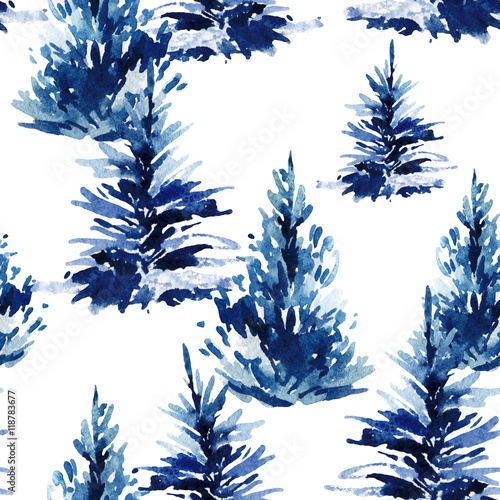 Cotton fabric Watercolor christmas tree seamless pattern.