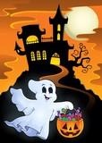 Halloween ghost near haunted castle