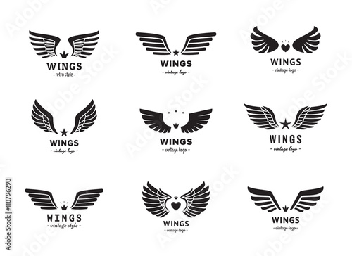 Wings silhouette logo vector set. Vintage design. Part two.