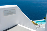 Reception of a beautiful hotel with pool in Santorini