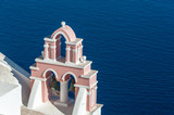 Pink bell tower over the sea - Santorini