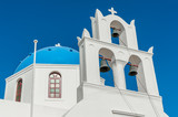 Orthodox church with blue dome in Santorini
