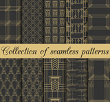 Art deco seamless patterns. Set of ten geometric backgrounds. Style 1920