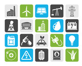 Silhouette Power, energy and electricity Source icons - vector icon set