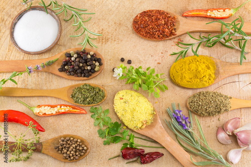 Poster Various spices in wooden spoons on wooden table