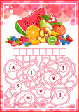Fototapety Educational puzzle game with fruits.
