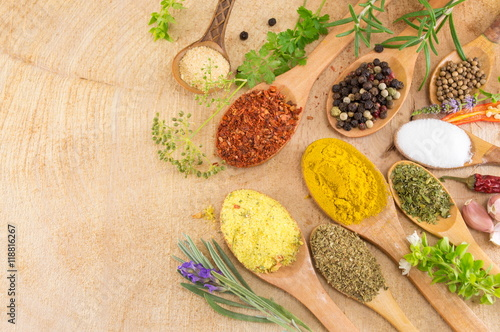 Poster Spices in wooden spoons on wooden table