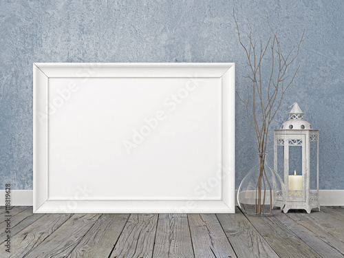 Horizontal interior poster mockup with white frame, lantern and ...