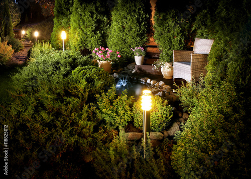 Illuminated home garden fountain patio