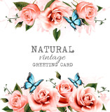 Natural background with roses. Vintage vector.