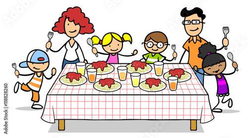 Gamesageddon Familie Und Kinder An Tisch Mit Spaghetti