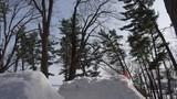 Extreme sports ski tricks on big snow jump in the winter
