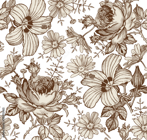 Fototapeta Seamless pattern. Beautiful brown blooming realistic isolated flowers. Vintage background. Chamomile Rose hibiscus mallow wildflowers. Wallpaper. Drawing engraving. Vector victorian Illustration.