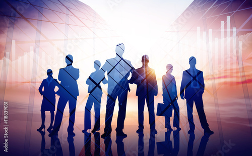 Business illustration. Group of seven young business person
