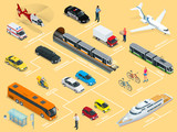 Flat 3d isometric high quality city transport car icon set. Car, van, cargo truck, mini, bus, scooter, bike, airplane, ambulance, police, taxi, metro, train. Set of urban public and freight transport