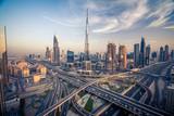 Panorama Dubaju z pi? Knym mie? Cie w pobli? U jest najbardziej ruchliwych autostrad?