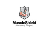 Muscle Shield Logo Design Illustration