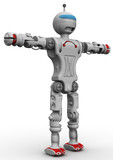 Humanoid robot standing on a white surface with arms raised