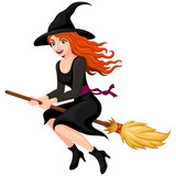 Vector illustration of a pretty, red-haired cartoon witch flying on her broom.