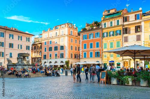 Poster Square Santa Maria in Trastevere, Rome. Italy