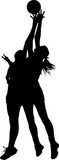 Silhouette Of Girls Ladies Netball Players Competing For Ball In Wall Sticker