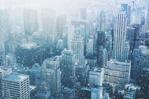 Snow in New York City - fantastic image, skyline with urban sky