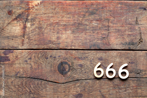 Poster 666 Number On Wood
