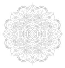 Tibetan mandala decorative ornament design for adult coloring page. Vector illustration