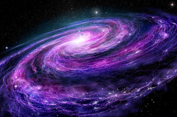 Spiral galaxy, 3D illustration of deep space object.