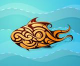 Fish decorative tattoo shape