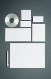 Mock-up business template with cards, papers, disk. Gray background.