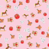 Seamless pattern toys for girls