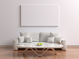 Fototapety White interior with a poster, sofa with pillows and a table with fruit. Room with picture white blank for design mock up. 3d illustration