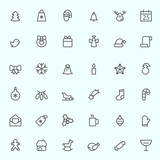 Christmas icons, simple and thin line design
