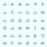 Transport icons, simple and thin line design