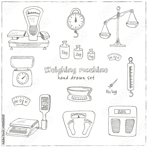 Doodle weighing machine set tools vector